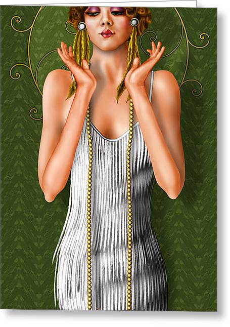 Intrigue Drawings Greeting Cards - Oh Those Fabulous Flappers Greeting Card by Troy Brown