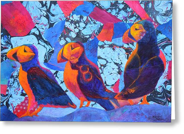 Seabirds Greeting Cards - Oh Those Puffins Greeting Card by Nancy Jolley