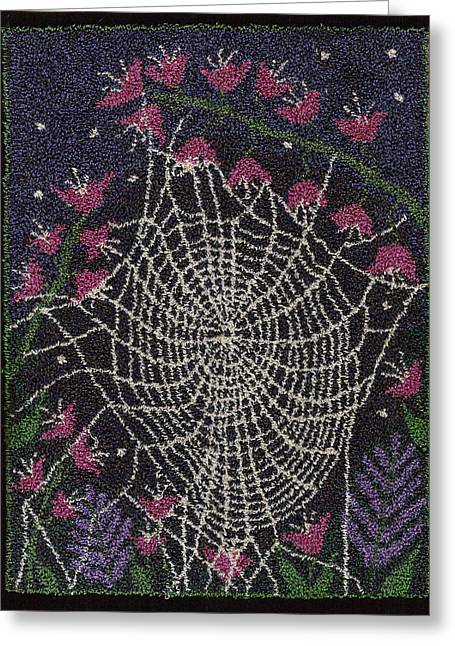 Primitive Tapestries - Textiles Greeting Cards - Oh what a tangled web we weave Greeting Card by Jan Schlieper