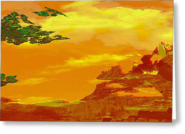 Japanese Landscape Greeting Cards - Ohayou Greeting Card by Tony Marquez