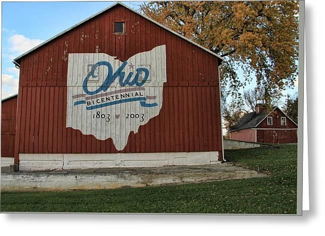 Ohio Bicentennial Barn In Fall Greeting Card by Dan Sproul