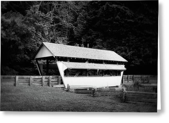 Ohio Covered Bridge In Black And White Greeting Card by Tom Mc Nemar