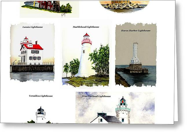 Ohio Lighthouses Collage Greeting Card by Michael Vigliotti