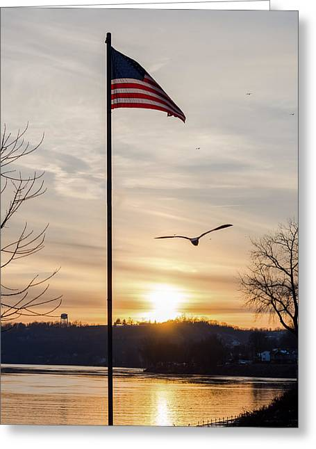 Flag Of Usa Greeting Cards - Ohio River Sunset Greeting Card by Jan M Holden
