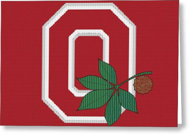 The Ohio State University Greeting Cards - Ohio State Buckeyes Beer Cap Mosaic Greeting Card by Dan Sproul
