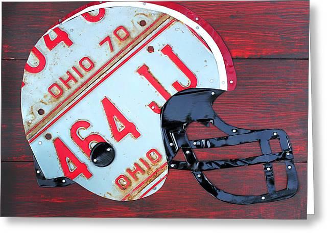Buckeyes Greeting Cards - Ohio State Buckeyes Football Helmet Recycled Vintage License Plate Art Greeting Card by Design Turnpike