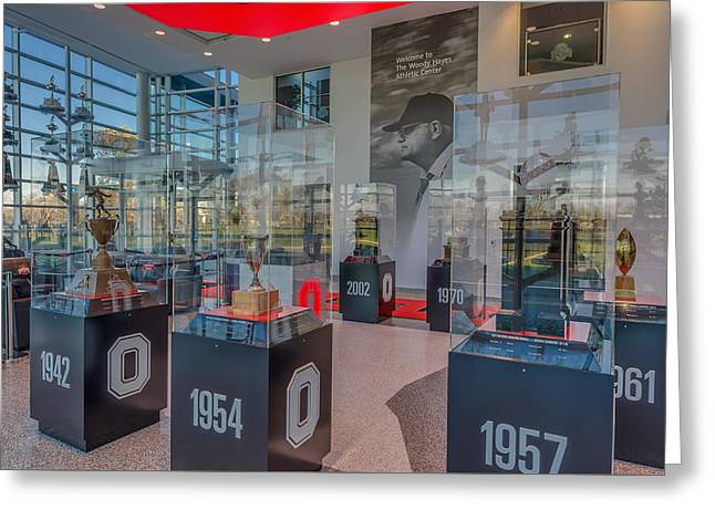 The Ohio State University Greeting Cards - Ohio State Football National Championship Trophy Woody Hayes Mural Greeting Card by Scott McGuire