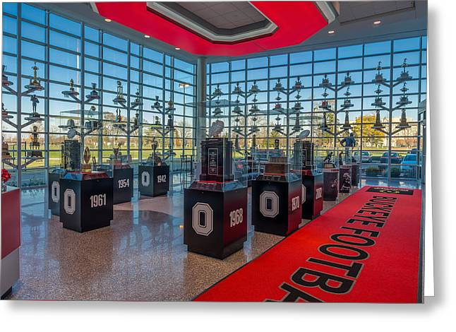 The Ohio State University Greeting Cards - Ohio State Football Trophy Collection Greeting Card by Scott McGuire