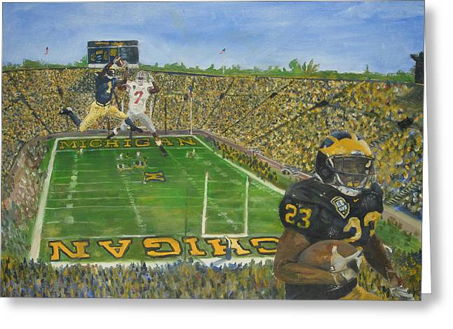 Ohio State Vs. Michigan 100th Game Greeting Card by Travis Day