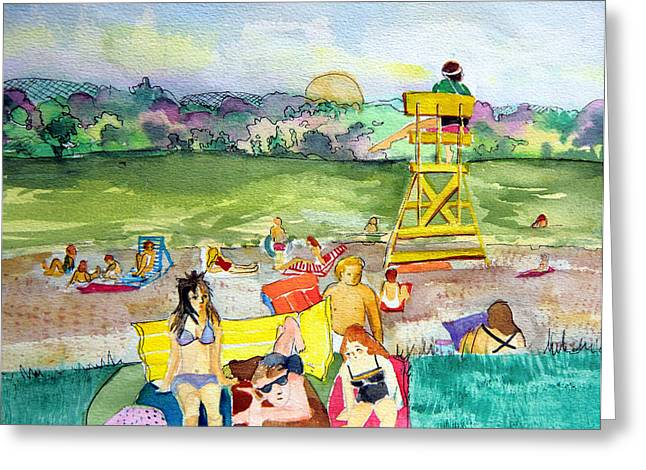 Recently Sold -  - Docked Boat Greeting Cards - Ohio Swimmers Greeting Card by Mindy Newman