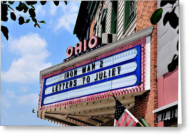 Lyle Huisken Greeting Cards - Ohio Theater Marquee Greeting Card by Lyle  Huisken