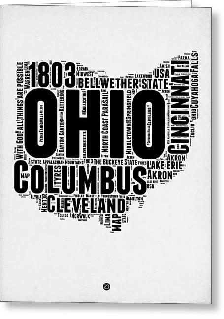 Ohio Word Cloud Map 2 Greeting Card by Naxart Studio