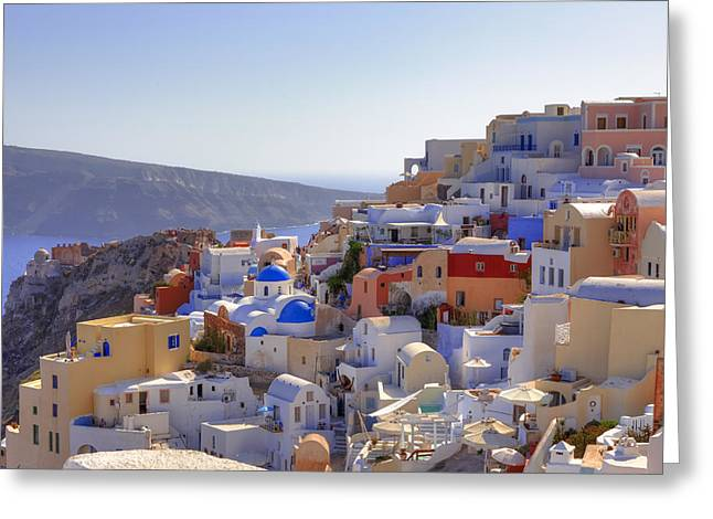 Islands Greeting Cards - Oia - Santorini Greeting Card by Joana Kruse