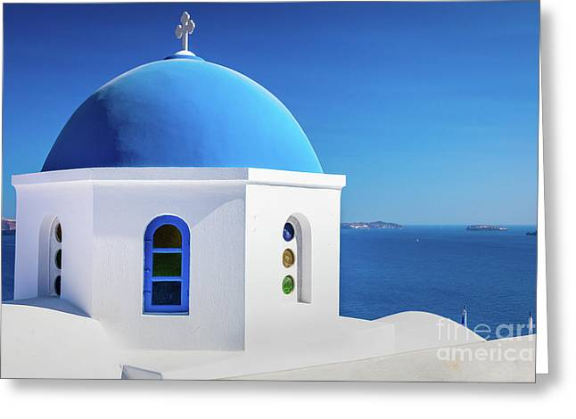 Oia Chapel Greeting Card by Inge Johnsson