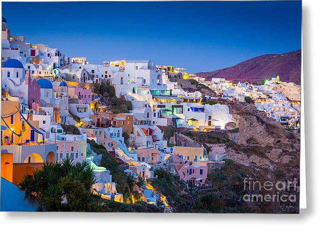 Aegean Sea Greeting Cards - Oia Hillside Greeting Card by Inge Johnsson
