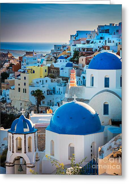 Aegean Sea Greeting Cards - Oia Town Greeting Card by Inge Johnsson