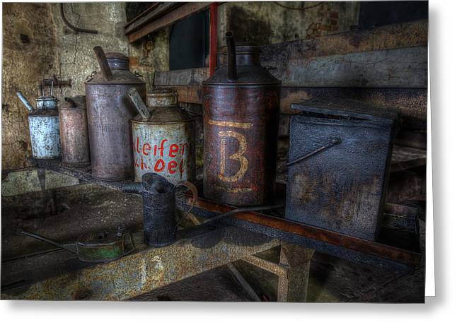 Industrial Concept Greeting Cards - Oil Cans Greeting Card by Frank Meitzke