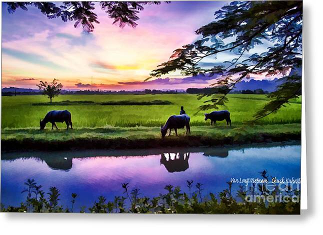 Digital Paint Greeting Cards - Oil Digital Paint Vietnam Greeting Card by Chuck Kuhn
