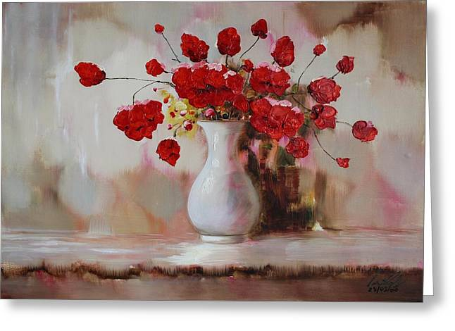Flower Still Life Prints Greeting Cards - Oil MSC 009 Greeting Card by Mario Sergio Calzi
