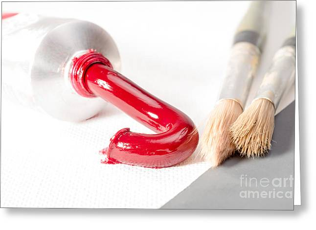 Alizarin Crimson Greeting Cards - Oil Paint out of Tube Greeting Card by Jacques Jacobsz