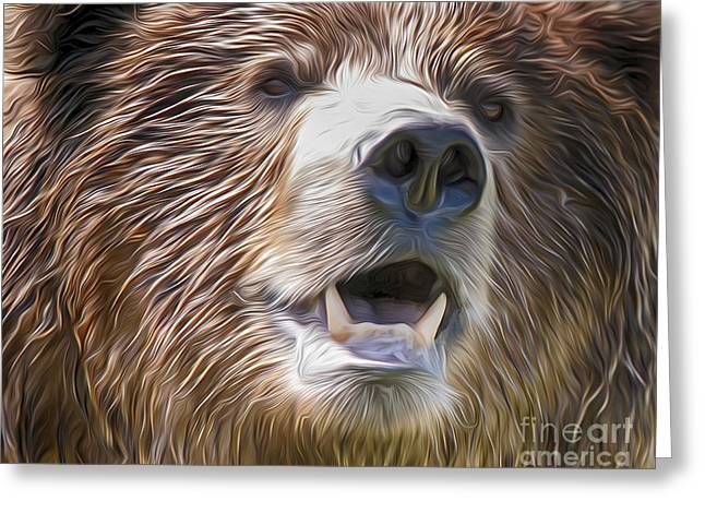 Ocean Mammals Greeting Cards - Oil Painted Brown Bear Greeting Card by Lorraine Logan