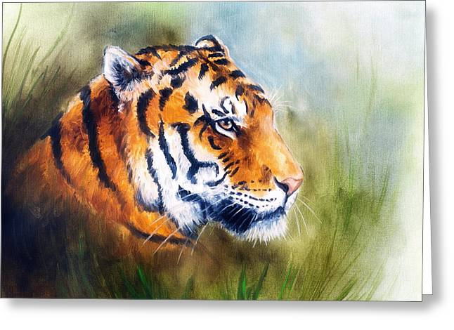 Royal Art Greeting Cards - Oil Painting Of A Bright Mighty Tiger Head On A Soft Toned Abstr Greeting Card by Jozef Klopacka