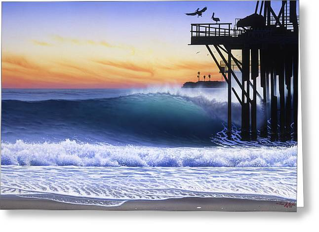 Rincon Greeting Cards - Oil Piers Greeting Card by Tim Laski