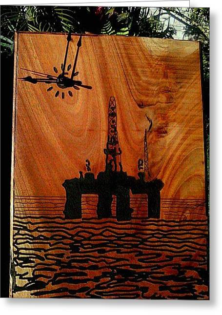 Clock Reliefs Greeting Cards - Oil Platform Greeting Card by Calixto Gonzalez