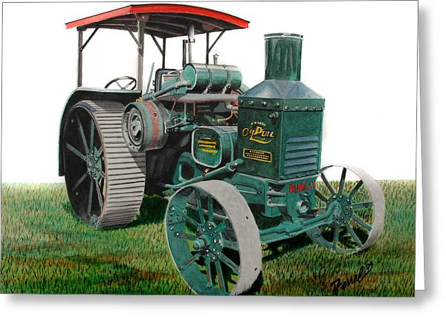 Pull Paintings Greeting Cards - Oil Pull Tractor Greeting Card by Ferrel Cordle