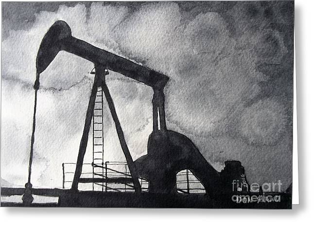 Oil Jack Greeting Card by Don Hand
