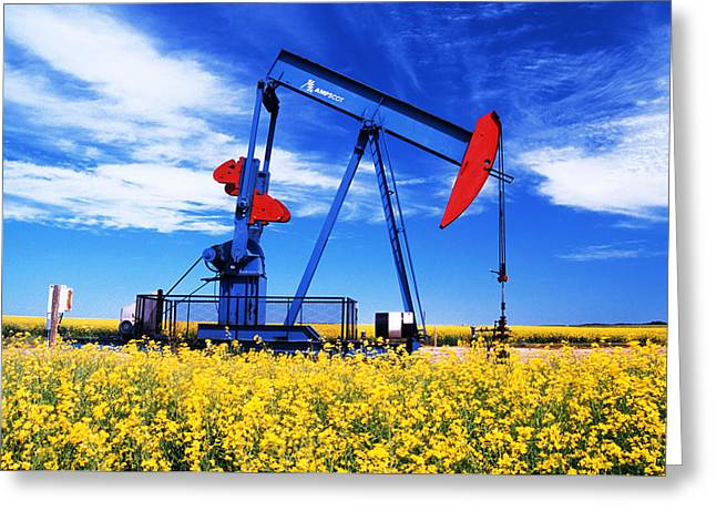 Brightness Greeting Cards - Oil Pumpjack And Canola Field, Arcola Greeting Card by Dave Reede