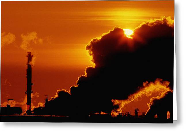 Gas Tower Greeting Cards - Oil Refinery Greeting Card by Don Hammond