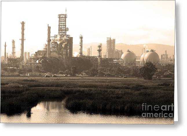 Oil Refinery Industrial Plant In Martinez California . 7D10364 . sepia Greeting Card by Wingsdomain Art and Photography