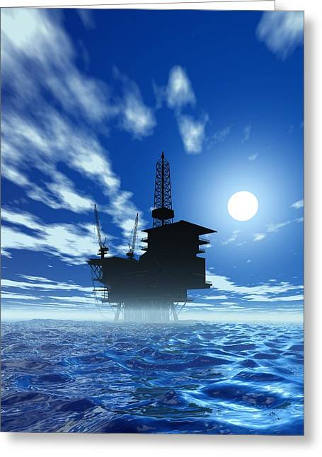 Sea Platform Greeting Cards - Oil Rig, Artwork Greeting Card by Victor Habbick Visions