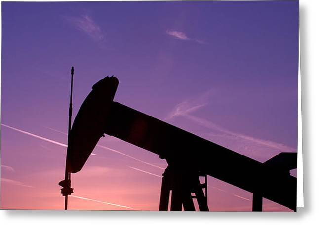 Oil Rig At Sunset Greeting Card by Connie Cooper-Edwards