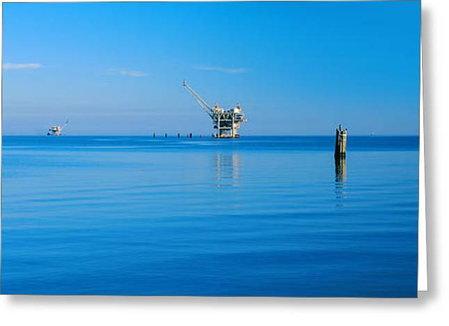 Oil Rig In The Sea, Gulf Shores Greeting Card by Panoramic Images