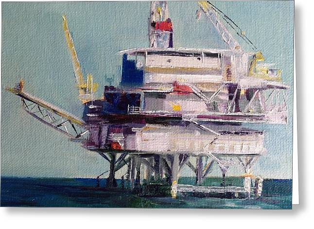 Oil Rig Greeting Card by Shannon Celia
