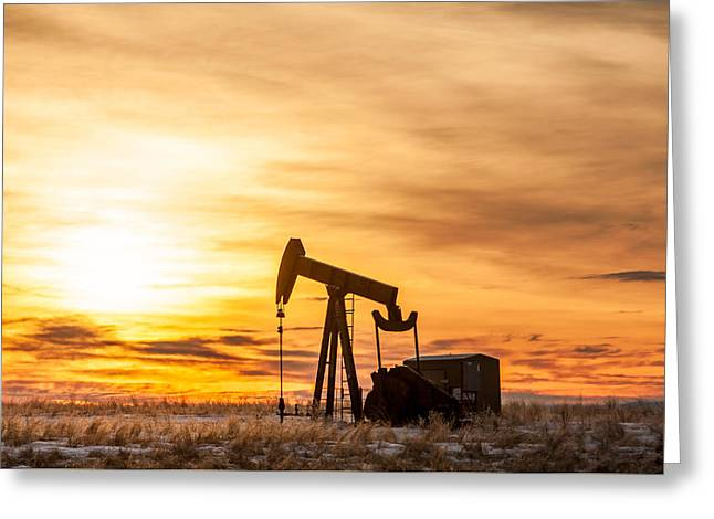Pumping Unit Greeting Cards - Oil Stained Sky Greeting Card by Todd Klassy