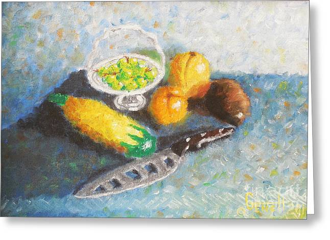 Blue Grapes Greeting Cards - Oil Still Life Greeting Card by Gene Huebner