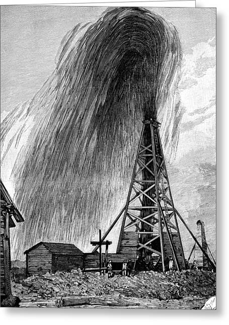 Asian Workers Greeting Cards - Oil Well, 19th Century Greeting Card by