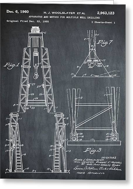 Oil Well Patent 1960 Chalk Greeting Card by Bill Cannon