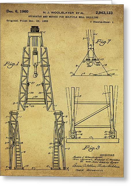 Oil Well Patent 1960 Vintage Sepia Greeting Card by Bill Cannon