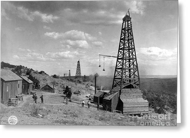 Petroleum Greeting Cards - OIL WELL, WYOMING, c1910 Greeting Card by Granger