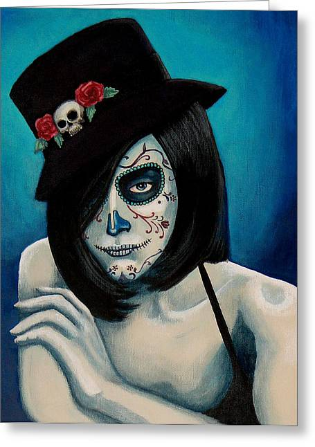 Girl Greeting Cards - Ojos Triste Greeting Card by Al  Molina