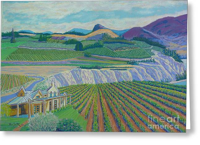 Wine Vineyard Pastels Greeting Cards - Okanagan Valley Greeting Card by Rae  Smith PSC