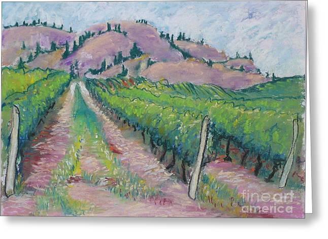 Grape Pastels Greeting Cards - Okanagan Vines Greeting Card by Vis Community