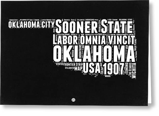 Oklahoma Black And White Map Greeting Card by Naxart Studio