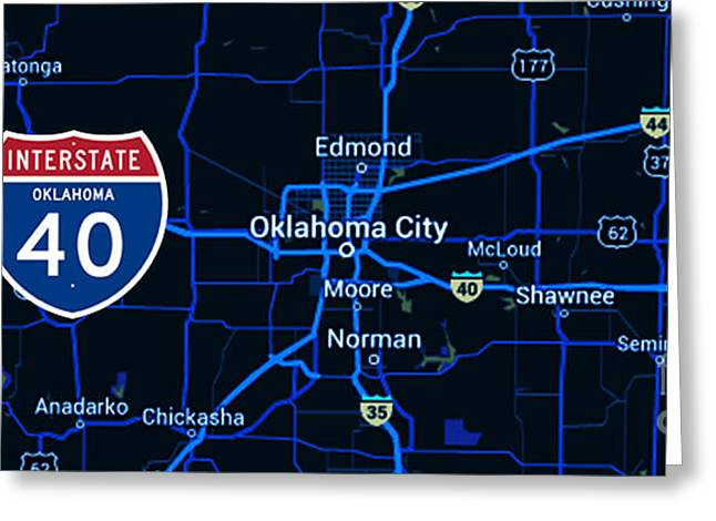 Oklahoma City Blue Old Map, Interstate 40 Greeting Card by Pablo Franchi