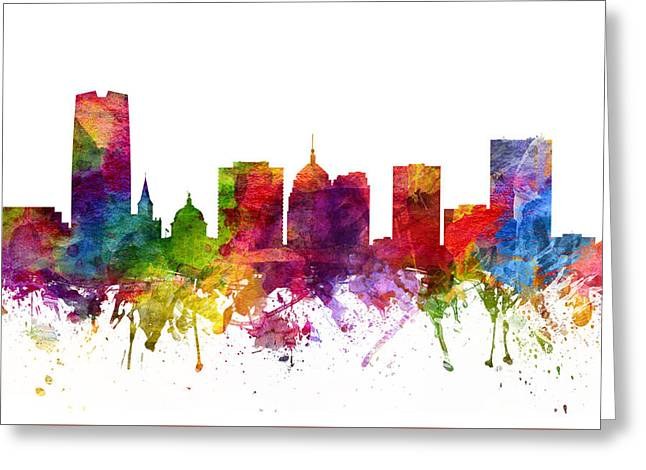 Oklahoma Digital Greeting Cards - Oklahoma City Cityscape 06 Greeting Card by Aged Pixel