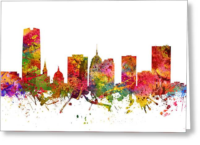 Oklahoma Digital Greeting Cards - Oklahoma City Cityscape 08 Greeting Card by Aged Pixel